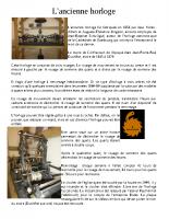 Fiche technique du mecanisme de l'horloge et meridienne
